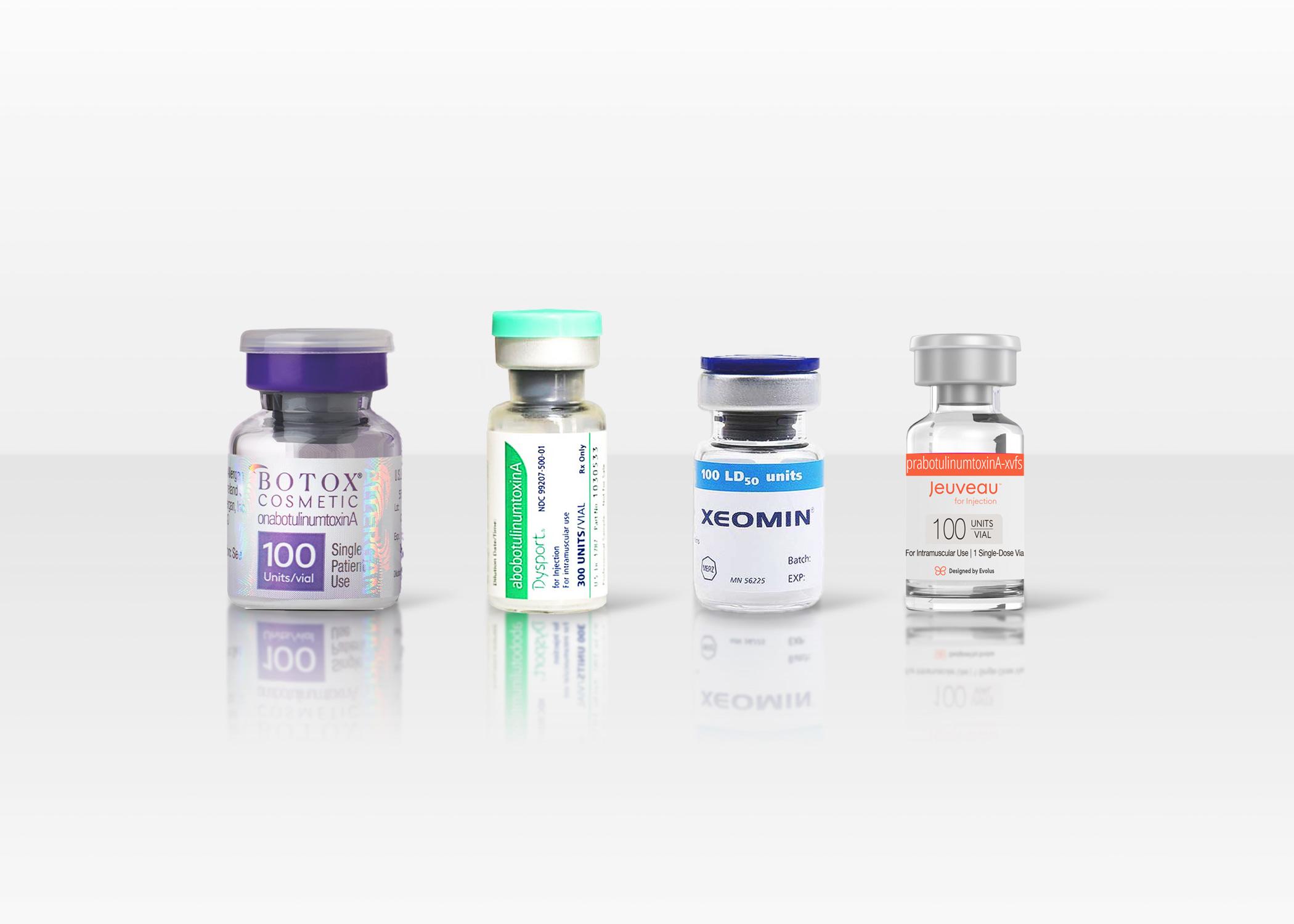 Vials of Botox, Dysport, Xeomin, and Jeuveau.